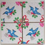 4 Ceramic Coasters in Cath Kidston Christmas Birds